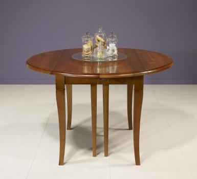 Table ronde à volets DIAMETRE 120  en Merisier massif de style Louis Philippe 7 allonges de 40 cm